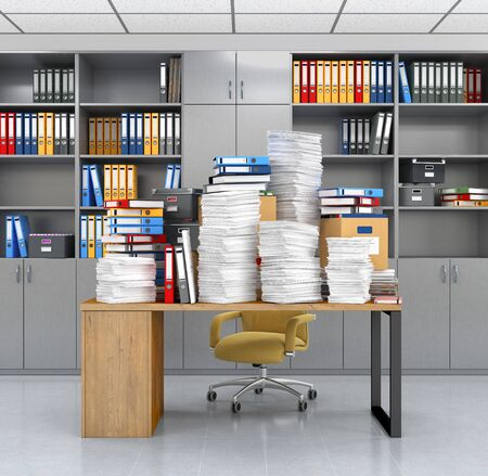 Documents and folders on the office desk.