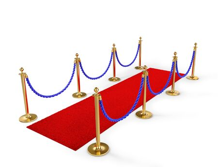 Rope fencing with red carpet isolated on a white