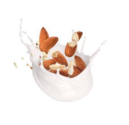 Splash of milk with almonds on a white Zdjęcie Seryjne