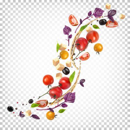 Beautiful appetizing composition of vegetables. Vector Illustratie