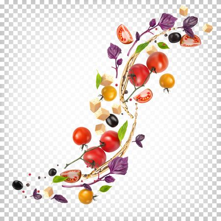 Beautiful appetizing composition of vegetables. Vector Illustration