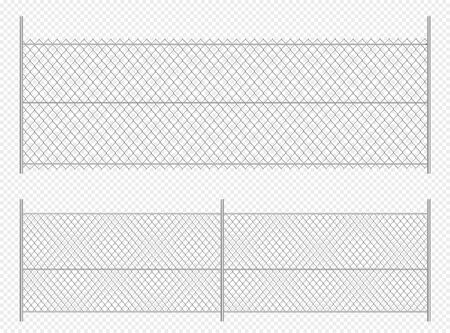 Realistic chain link fence. Metal wire fence isolated vector illustration Ilustrace