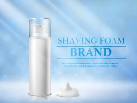 Packaging of cosmetic foam for shaving on a blue background. Vector illustration.