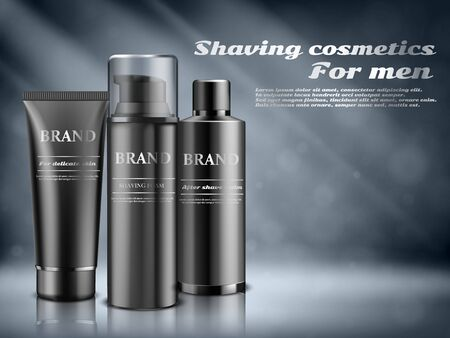 Men cosmetics, shaving foam, Body care cosmetic product on blue background. Vector illustration.
