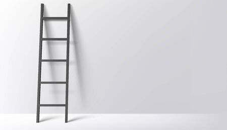 Black ladder on light grey wall background with shadow. Vector illustration