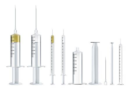 Medical syringe illustrations set. Realistic syringe collection isolated on white background.