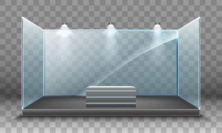 Blank glass trade exhibition stand with lighting on transparent background.