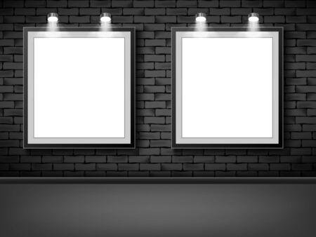 Blank picture frames on black brick background. Empty white mock up posters Ilustracja