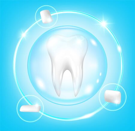 Concept of protection against dental caries. Tooth and chewing gum  イラスト・ベクター素材