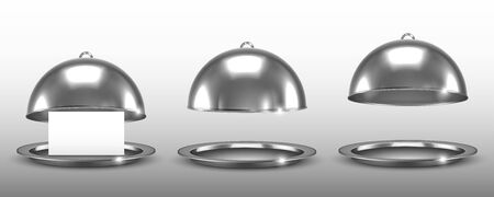 Dome for restaurant dishes set. Vector realistic silver cloche.