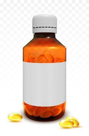 Fish oil capsules in a glass bottle