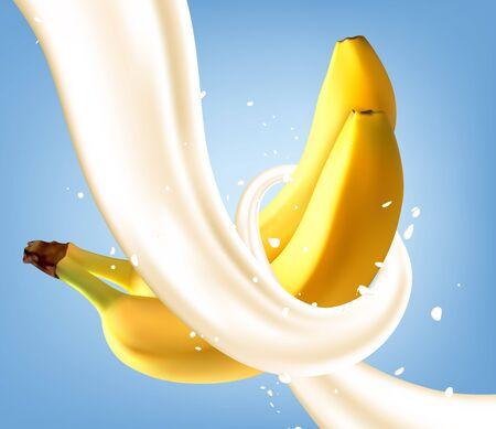 Milk Splash with Banana Ilustracja