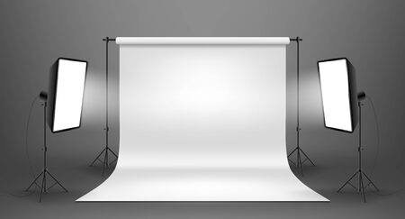 Photo studio with white screen on a gray background