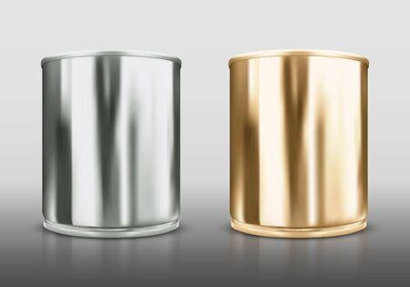 Realistic metal cans. Vector illustration Ilustracja