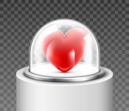 Red heart protected under a glass dome on transparent background