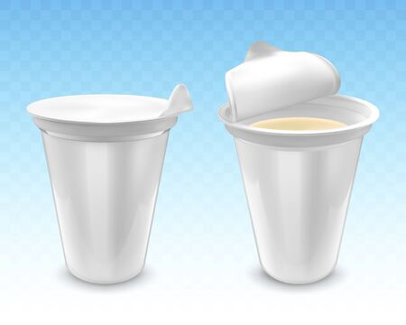 Set of realistic yogurt in plastic cup isolated on transparent blue background. White plastic packaging with foil cover for yogurt and other products.