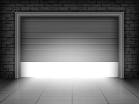 Vector illustration of garage door in brick wall with bright light inside Ilustracja