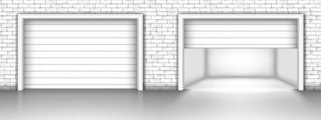 Vector illustration of garage door in brick wall. Closed and open garage doors
