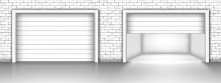 Illustration vectorielle de porte de garage en mur de briques. Portes de garage fermées et ouvertes