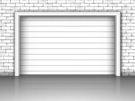 Vector illustration of garage door in brick wall