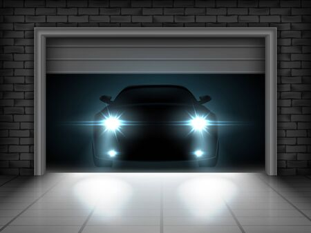 Vector illustration of opening garage and car with brightly shining headlights Vector Illustratie