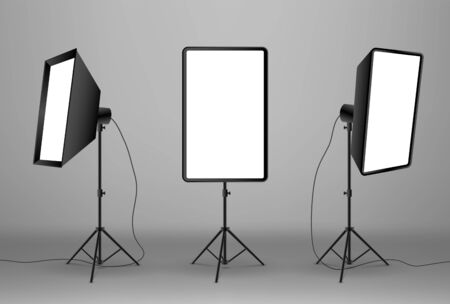 Vector realistic photo studio accessories. Spotlights softboxes on grey background.