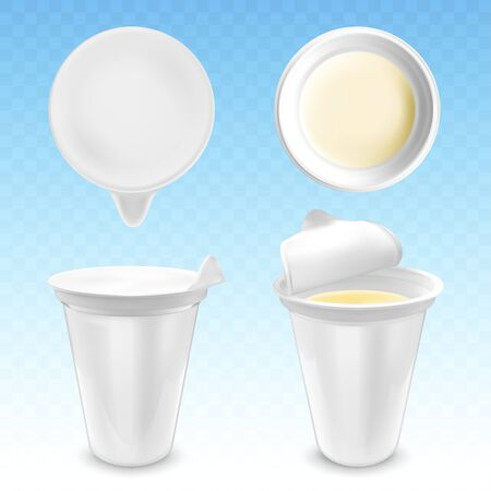 Vector realistic plastic packages with yogurt Ilustracja