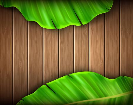 Wooden board with banana leaf