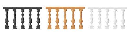 Banister or fencing sections set Ilustración de vector