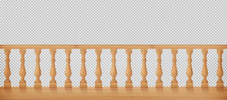 Wooden balustrade, balcony railing or handrails.