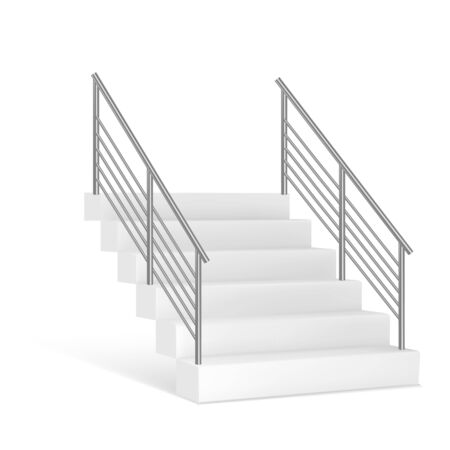 Stairs and stainless steel railing. Vector illustrstion