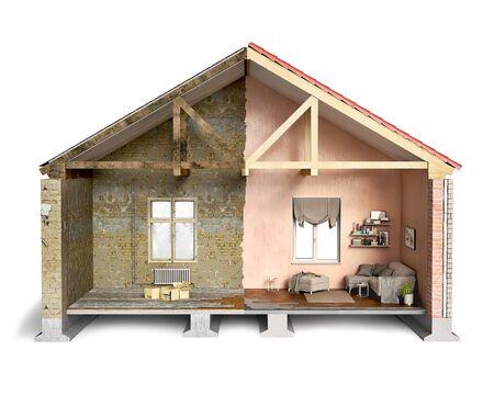 Pół stary i pół nowy dom, przekrój, ilustracja 3d