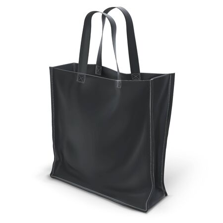 Empty black 3D vector eco bag isolated on white background.