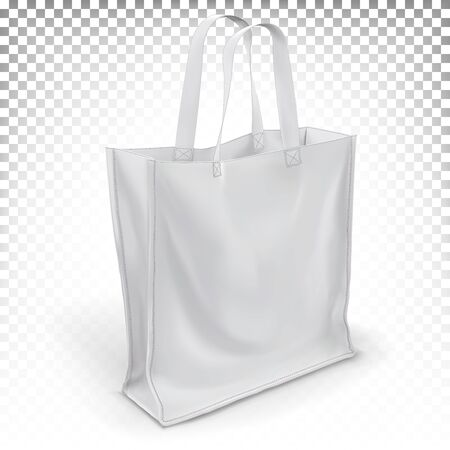 Vector 3d realistic eco bag made of white fabric stands on a surface isolated on a transparent background. Mock up blank template for print design.