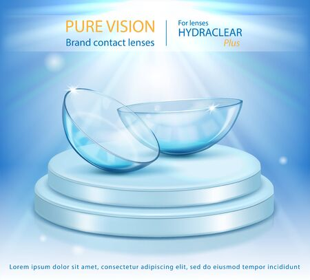 Medical contact lenses. Podium on a blue background. Vector illustration. Product Branding. Vectores