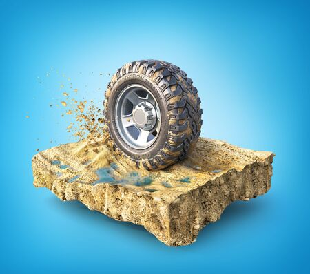 Off road wheel on the piece of ground on a blue background. 3d illustration 版權商用圖片