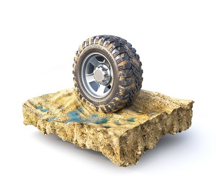 Off road wheel on the piece of ground on a white background. 3d illustration 版權商用圖片
