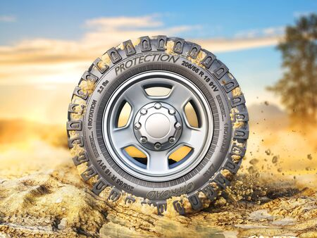 Off road wheel on the  ground. 3d illustration