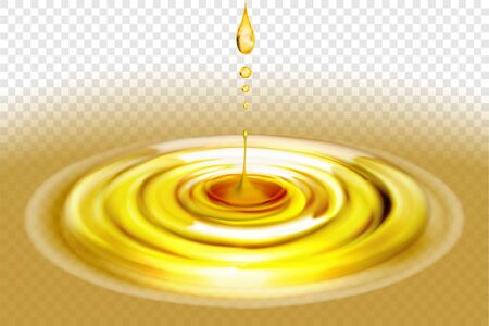 Yellow liquid. Spilled oil. Falling drops. Vector illustration on a transparent background.