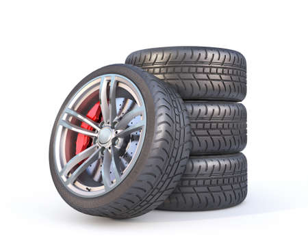 Stack of summer tires on a white background. 3d illustration