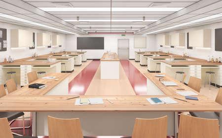 Modern classroom with wood floor. High school. 3d illustration