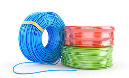 Color cable coils on white