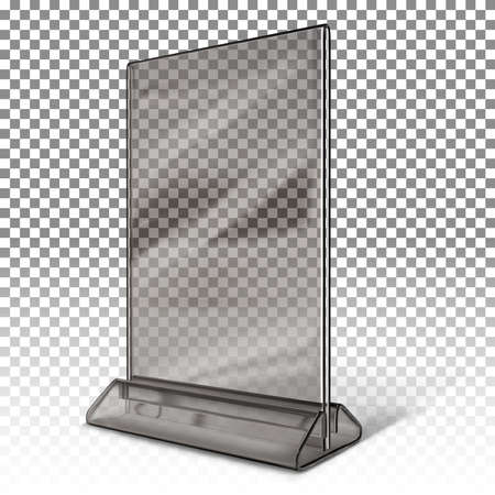 Stand for booklets, business cards, advertisements, menus made of black transparent plastic isolated on white transparent background.