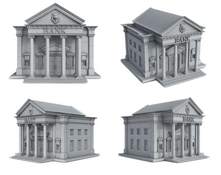 Classical bank building's set in gray tones, 3d illustration Archivio Fotografico