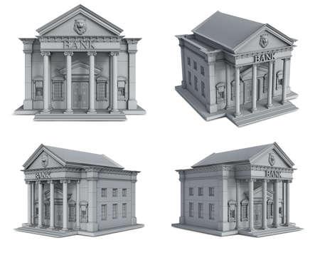 Classical bank building's set in gray tones, 3d illustration Reklamní fotografie