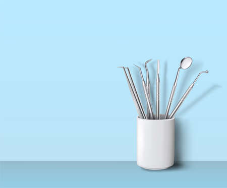 Dental instruments standing in ceramic cup on background vector illustration