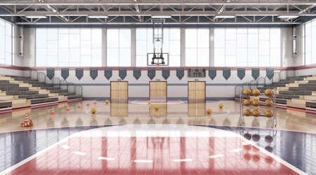 High school basketball gym. 3d illustration