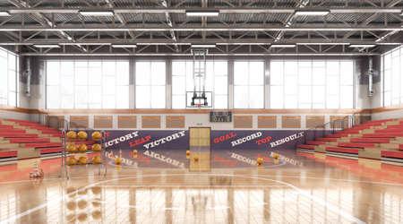 High school basketball gym. 3d illustration Stock Photo