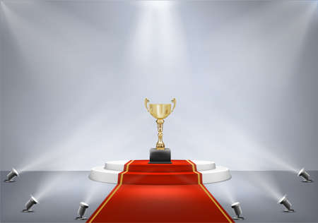 award golden cup on pedestal with spotlight and red carpet vector illustration