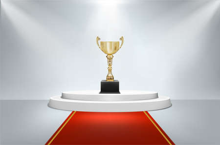 award cup on round pedestal with red carpet with light vector illustration